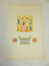 1806 French Antique COLOR Print/MUSICAL CONCERT & THRONE OF THE 13TH CENTURY