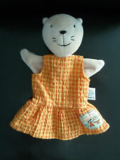 11/ DOUDOU PLAT MARIONNETTE MOULIN ROTY CHAT ROBE ORANGE ET JAUNE - TTBE