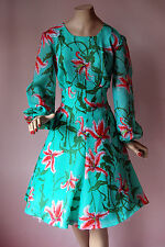 Vintage 1960's Sweet Chiffon Green & Pink Iris Balloon Sleeve Swing Dress UK14