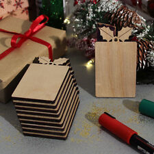 10 Wooden Christmas Holly Gift Tags Labels Blank Craft Shapes Decorations