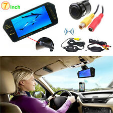 "7"" HD Bluetooth MP5 Car Rearview Mirror Monitor + Wireless Reverse Backup Camera"