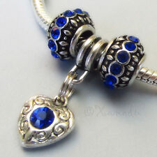 Sapphire Blue September Birthstone European Charm Beads For Large Hole Bracelets