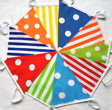 CANDY MIXED 10 ft Multi Coloured Handmade Fabric Bunting Banner Birthdays SALE
