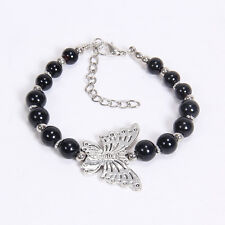 NEW DIY black butterfly Tibetan silver beaded bracelet gift of love S19B