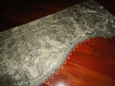 CHRIS MADDEN PLATINUM GOLD GREEN PAISLEY SCALLOPED FRINGED VALANCE 22 X 79