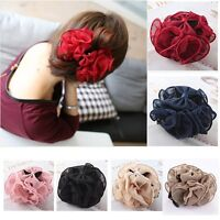 Women Chiffon Pure Large Flower Clamp Barrette Bow Claw Clip Hair Accessory New