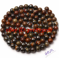 4MM NATURAL SMOOTH ROUND SHAPE IRON TIGER'S EYE GEMSTONE SPACER BEADS STRAND 15""