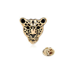 1pc Men Women Shirt Collar Tip Stud Clip Leopard Lapel Pin Badge Brooch Gold