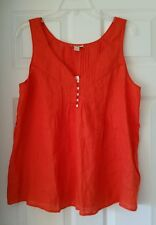 J Crew Women Linen Tessa top #42840 Size 12 Orange Code MRE tie not included