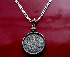 "SILVER ENGLISH PRE 1936 Authentic SIXPENCE on a 30""- 76cm .925 SILVER CHAIN"