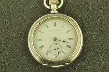 MASSIVE 18S ILLINOIS KW/KS TRANSITIONAL POCKET WATCH FROM 1881 4 OZ  SILVER CASE