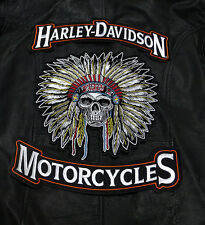 HARLEY 12 INCH TOP BOTTOM ROCKER WITH 10 INCH INDIAN SKULL 3PC BACK PATCH