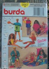 BURDA Vintage Pattern 3887 Barbie & Ken Beach & Exercise Doll Clothing Uncut