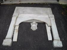"""Antique Hand Carved  White Marble Fireplace Surround, 44 & 3/8"""" T, 50"""" W, c.1910"""