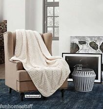 """CUTWORK BEIGE CHEVRON DESIGN Sherpa Luxury Light Weight Soft Blanket 50"""" x 70"""""""