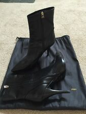 Fendi Black Leather Boots Size 41 US 10