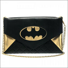 The Dark Knight DC Comics Batman Bat Logo Envelope Chain Clutch Wallet Purse NEW