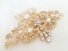 Zahra Gold Bridal Hair Comb, Sparkly, Rhinestone, Pearl, Vintage Slide Victorian