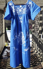 Puebla Dress Mexican Embroidered Flowers Floral Oaxacan Large L Blue Azul