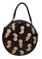 Banned Distractions Tote Round Bag Voodoo Dolls Pin Handbag Shoulder Bag Zip Emo