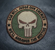 PUNISHER INFIDEL TACTICAL 3.5 INCH EMBROIDERED ACU GREEN HOOK PATCH