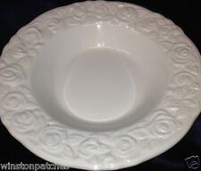 QUADRIFOGLIO FRANCO GIORGI QUD12 LARGE RIM SOUP BOWL WHITE EMBOSSED ROSES ON RIM