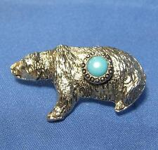 Vintage Grizzly Bear Light Blue Round Stone Center Silvertone Metal Pin Pinback