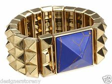 House of Harlow 1960 Nicole Richie Pyramid Bracelet in Gold/Lapis