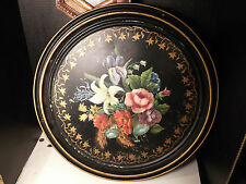 """ANTIQUE LARGE 20-1/2"""" ROUND TOLEWARE HAND PAINTED FLORAL TRAY TABLE TOP COVER"""