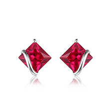 JewelryPalace Square 2.8ct Created Red Ruby Stud Earrings 925 Sterling Silver