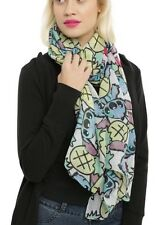 """Disney Lilo & Stitch Pineapple Tossed Print Sheer Oblong Scarf 44""""x72"""" NWT!"""