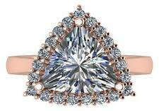 3.50 ct GIA F SI2 trillion / triangular & round diamond halo ring 18k rose gold