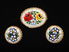 VINTAGE MICRO MOSAIC ITALY BROOCH PIN AND EARRING SET - ESTATE SALE FLORAL NICE
