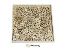 Craft Emotions BOX of 250 WOODEN SHAPES Ornaments ALPHABET #2 LARGE LETTERS 0296