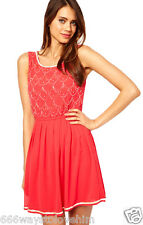 Lipsy UK 10 Coral Pink Beaded Top Embellished Chiffon Skater Dress New Party