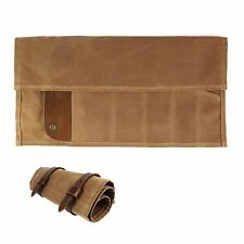 Waxed Canvas and Leather Landseer Tool Roll - Brush Brown - Made in USA