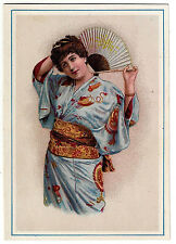 Advertising: Victorian Card. Young lady in Japanese dress. (BI#57)