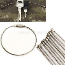 10PCS Stainless Steel Wire Keychain Cable Key Ring for Outdoor Hiking #Cu3