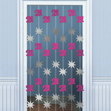 6.5ft Happy 21st Birthday PINK Door Doorway Danglers Party Decoration