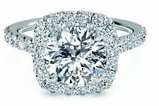 1.00 CT DIAMOND ENGAGEMENTRING ROUND CUT  F/SI 1 14CT SOLID WHITE GOLD ENHANCED