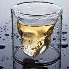 2 Crystal Skull Skeleton Death's-Head Whiskey Vodka Shot Glass Mug Drink Bar Cup