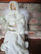 "Christmas Tree Topper Snow White Angel Centerpiece 16"" Tall Real Feathers"