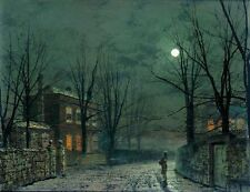 Atkinson Grimshaw Old Hall Under Moonlight Oil Painting repro