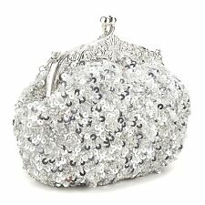 Full Sequin Beads Ornate Style Wedding Evening Party Cocktail Clutch Purse Prom