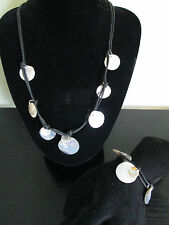 MOTHER OF PEARL NECKLACE & BRACELET SET. BLACK LEATHER THONG. NEW.