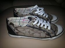COACH SIGNATURE Jacquard Barrett sneakers size 6.5 shoes leather brown women's