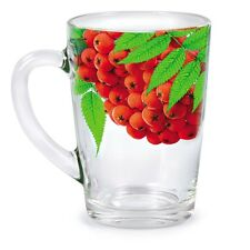 Glass Tea Mug Cup SET OF 6 10 floz MUGS Heat Resistant Thick Glass Berry pattern