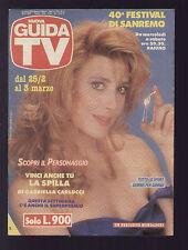 NUOVA GUIDA TV MONDADORI 8/1990 GABRIELLA CARLUCCI PROGRAMMI TV LOCALI ROMA