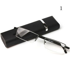 Fashion Half Frame Readers Reading Glasses +1.0- +2.5 with Case Box Holder