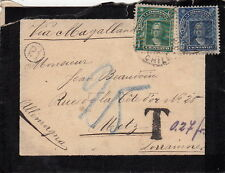Lettre Santiago Chili Taxe pour Metz Lorraine Allemagne Cover 1909